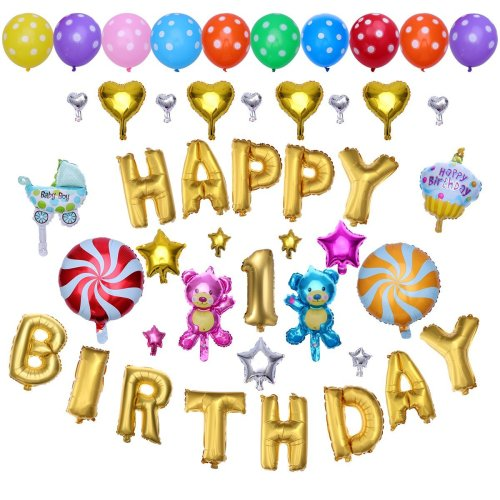 TOYMYTOY Happy Birthday Alphabet Letters Balloons Foil Mylar Party Decoration 1st Decorations Supplies On