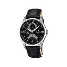 Festina F16823/2 Men's Black Dial Black Leather Strap Quartz Watch