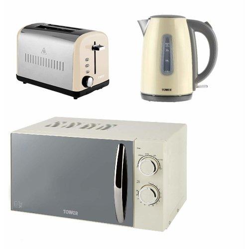 MANUAL Microwave, Cream Silver 2 Slice Toaster & 1.7L 3kW JUG Kettle