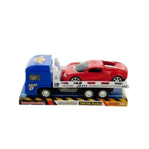 Kole Imports KL228-4 12 x 3.75 in. Friction Trailer Truck with Race Car Set, Pack of 4