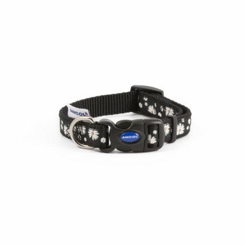 Fashion Adjustable Nylon Collar Black Daisy 20-30cm