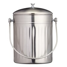 KitchenCraft High-Capacity Small Kitchen Compost Bin, 5 Litres (1 Gallon) - Stainless Steel