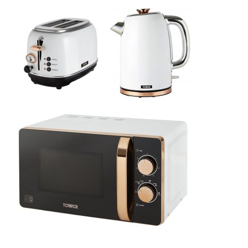 ROSE GOLD WHITE Manual Microwave, 1.7L Jug Bottega Kettle & 2 Slice Toaster