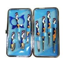 [BLUE] GOOOD 10 PCS Chinese Beauty Manicure/Pedicure Kits Nail Care Personal Set