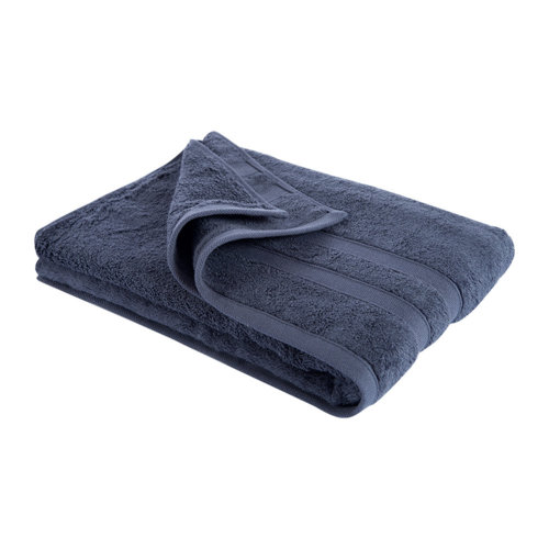 New Egyptian Cotton Soft High Quality Solid Color Washcloth Bath Towel Flannel, Navy Blue (34x75cm)