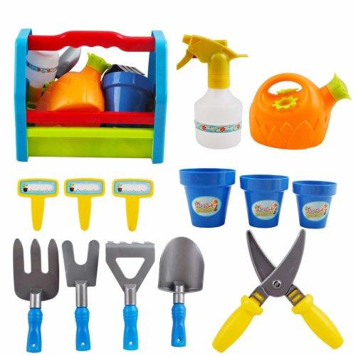 deAO 13 Piece Children's Gardening Tools Kit Play Set - Outdoor Garden Flower Vegetable Planting Tools for Kids