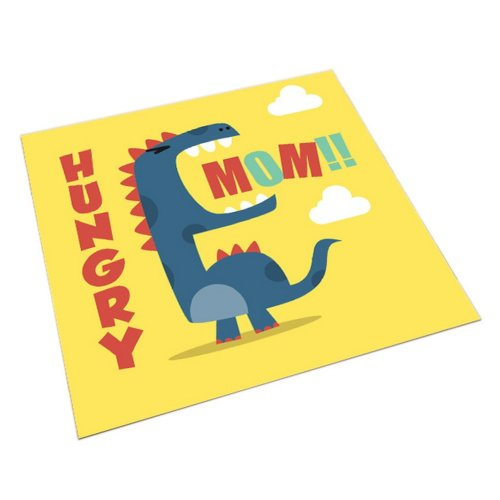 Square Cute Cartoon Children's Rugs, Yellow And Hungry Cartoon Dinosaurs