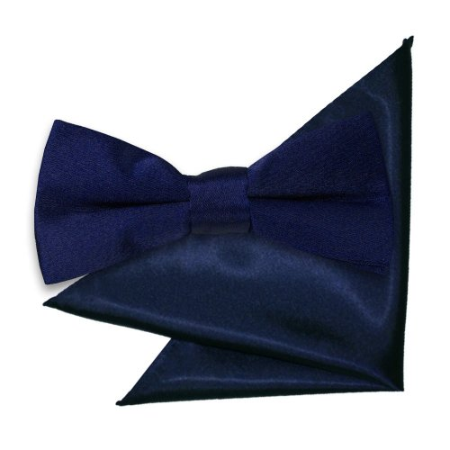 Navy Blue Plain Satin Bow Tie & Pocket Square Set for Boys