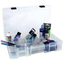 "Creative Options Pro Latch Utility Box 6-21 Compartments-14""X9.125""X2.8"" Clear W/Black"