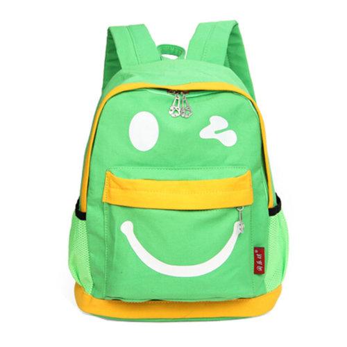 Smiling Face Little Kid Backpack Kids Boys Girls Backpack,green