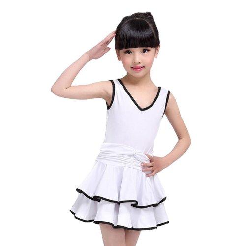 Beautiful Girls Costume Performance Latin Dance Dress WHITE(115-125CM Height)