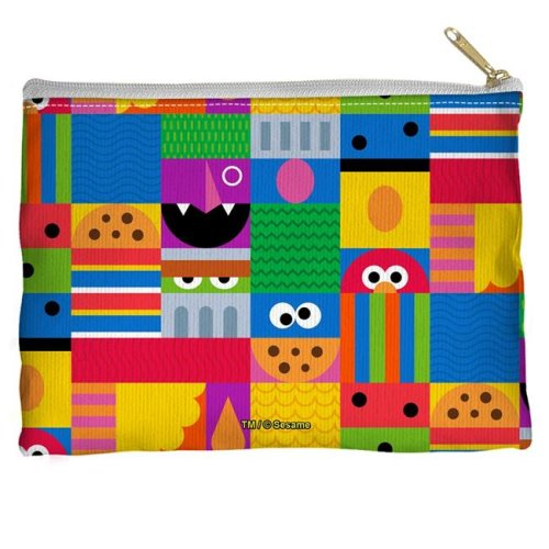 Trevco Sportswear SST269-PCH1-12.5x8.5 Sesame Street & Squares Accessory Pouch, White - 12.5 x 8.5 in.