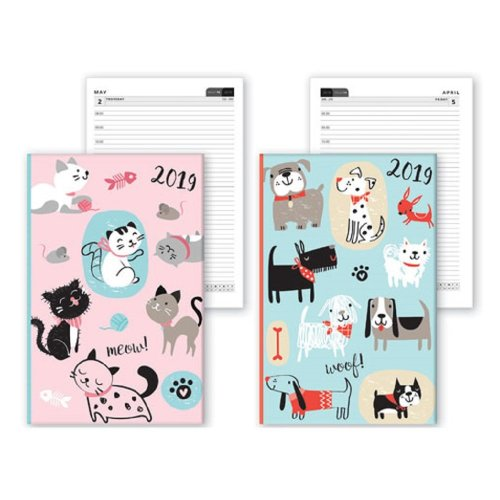 2019 A6 Week Day to View Chunky Diary Pets Cats Dogs Pink Green Appointments Christmas Birthday Gift