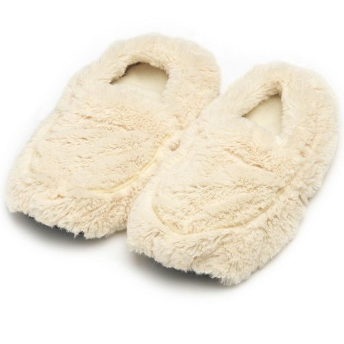 Warmies Slippers Cream Plush Microwaveable Warm Fluffy Adult UK Size 3-7