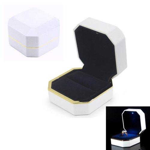 AVESON Luxury Ring Box, Square Velvet Ring Holder Case Jewellery Organiser Storage Gift Box with LED Light for Proposal Engagement Wedding, White