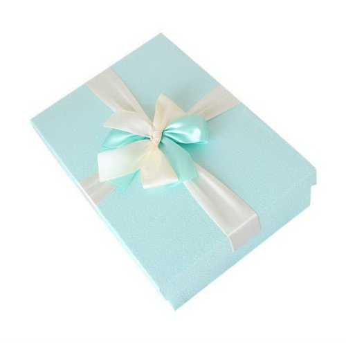 Simple Box With Bowknot Rectangle Birthday Valentine's Day Gift Wrapped Box Blue