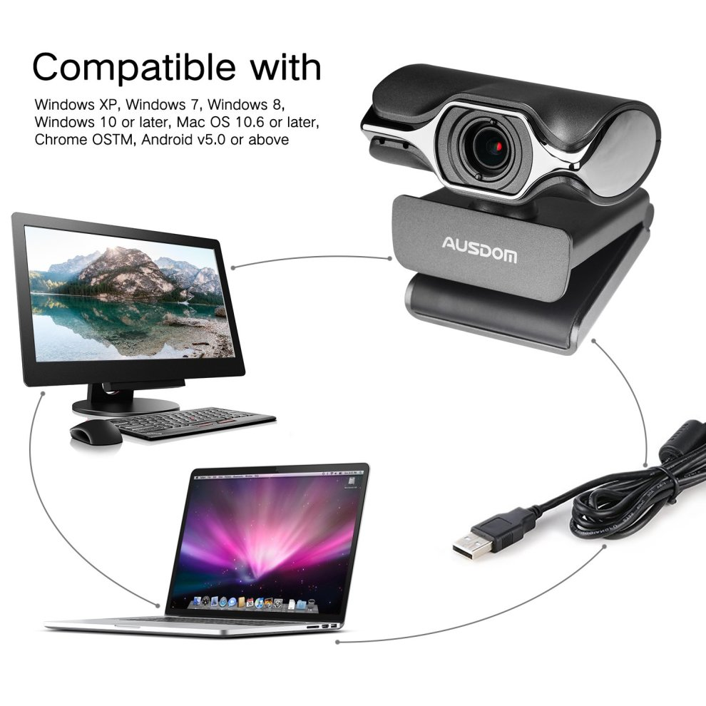 Computer Camera, AUSDOM Widescreen High Definition Webcam 1080P , HD Web  Cam USB Plug and Play Network Web Camera with Microphone for Skype