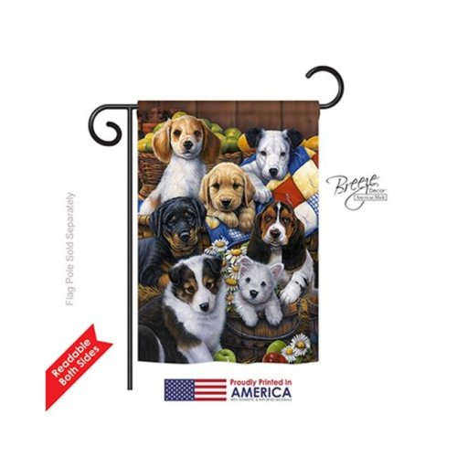 Breeze Decor 60049 Pets Country Bumpkin Puppies 2-Sided Impression Garden Flag - 13 x 18.5 in.