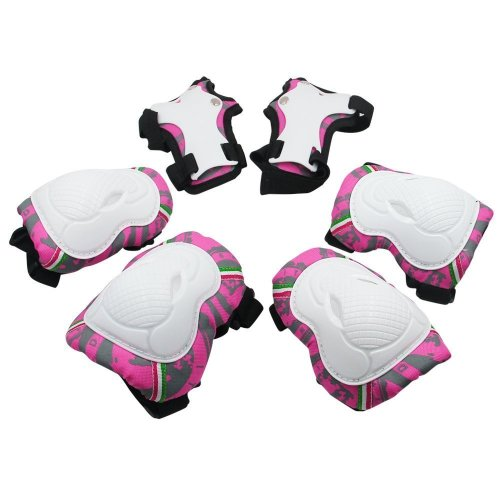 Kuyou Kids Protective Gear,6 pcs Knee Elbow Pads and Wrist Child's Pad Set for Inline Roller Skating Biking Sports Safe Guard (Pink)