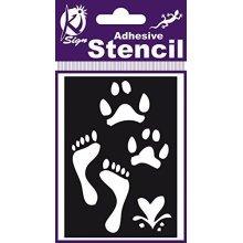 Footsteps Air Brush Adhesive Stencil -  stencil adhesive trace empreinte 7x10 cm kisign