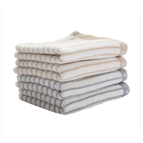 "Cotton Towel Set 4 Pieces 28"" x 13.4"" Stripe Absorbent for Bathroom Beach Sport"