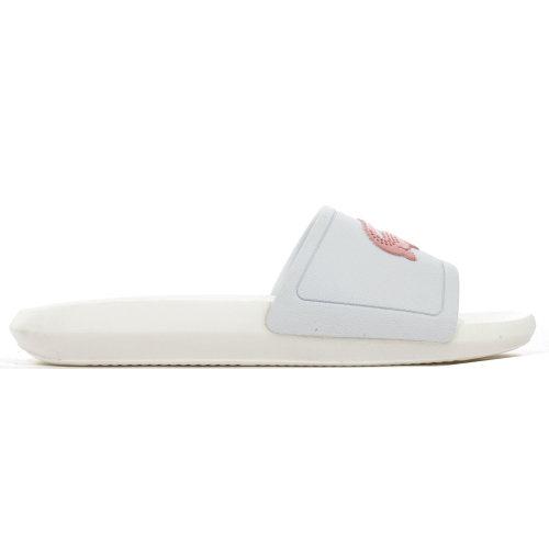 Lacoste Croco Slide Womens Fashion Beach Holiday Flip Flop Slide White/Pink