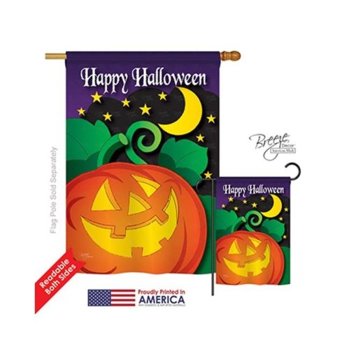 Breeze Decor 12052 Halloween Halloween Night 2-Sided Vertical Impression House Flag - 28 x 40 in.