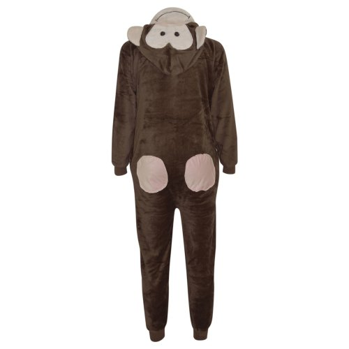 Kids Girls Boys Onesie Soft Fluffy Monkey All In One Halloween Costume 7-14 Yr