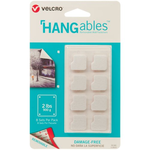 """Velcro(R) Brand HANGables Removable Wall Fasteners .75""""-8/Pkg, Holds Up To 2lbs"""