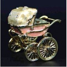 Baby Pram Jewelry Box Studded with Crystals Ornament