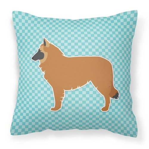 Carolines Treasures BB3761PW1414 Belgian Shepherd Checkerboard Blue Fabric Decorative Pillow