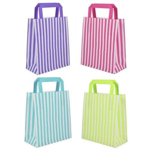 Candy Stripe Flat Handle Gift Bags