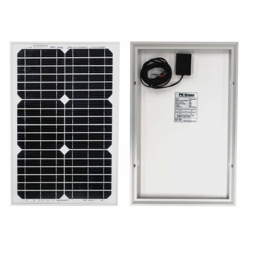PK Green 20W Solar Panel Kit and Cable - for 12V Battery, Caravan, Boat, Shed, Car, Motorhome, Camping, Off Grid