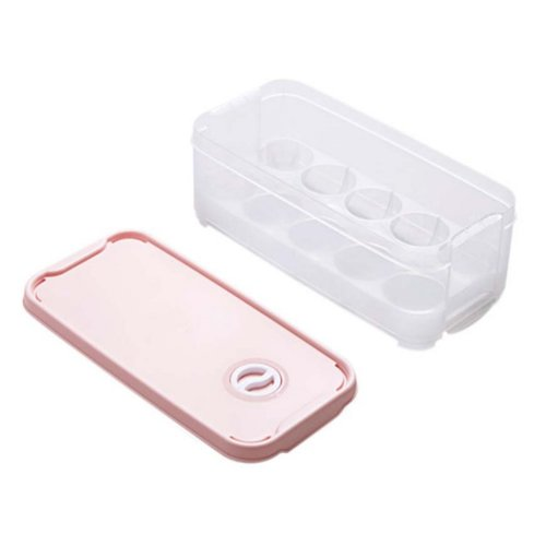 Set of 2 Egg Holder Egg Container With Lid 10 Grid Each Eggs Box Plastic,A