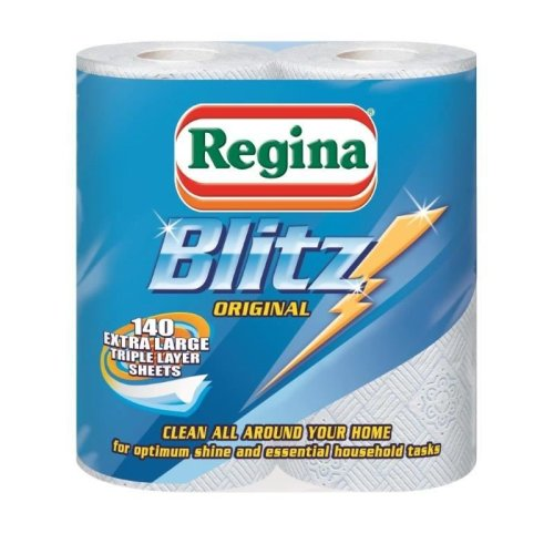 8 Rolls Of Regina Blitz 3 Ply Kitchen Roll Paper Towels - 70 Sheets Per Roll