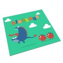 Square Cute Cartoon Children's Rugs, Green And Big Mouth Cartoon Dinosaur