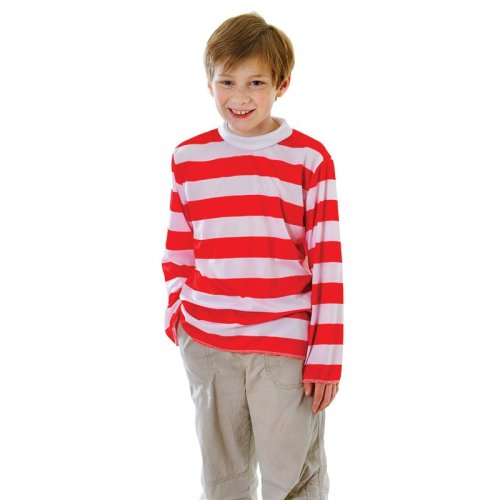 Large Red & White Striped Boys Costume Top - Fancy Dress Week Book Girls Unisex -  top fancy striped dress red white week book costume girls boys