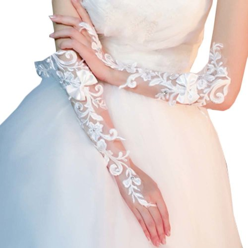 Bridal Wedding Gloves Party Dress Lace Long Gloves A20