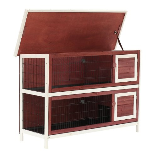 "PawHut 54"" Two Floor Wooden Rabbit Hutch Small Pet Animal House Cage"