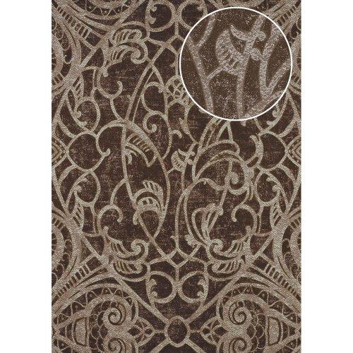 ATLAS CLA-597-9 Baroque wallpaper shiny brown pearl gold 5.33 sqm