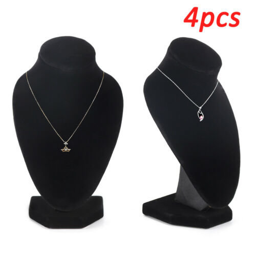 4pcs Jewellery Necklace Display Chain Stand Bust Velvet Black Holder