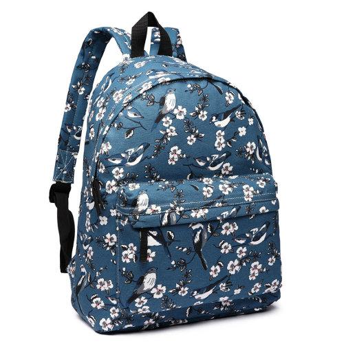 5850e6668 Miss Lulu Backpack Girls School Bag Bird Flower Canvas Rucksack on OnBuy