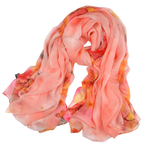 Womens Romantic Scarf Shawl Wrap Comfortable Scarves Butterly Pattern, Orange