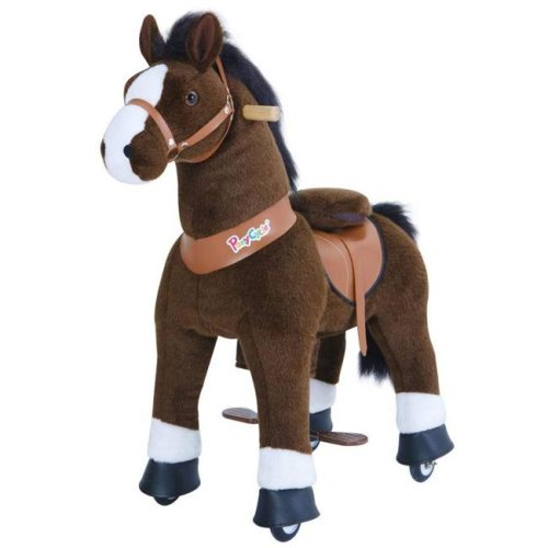 PonyCycle U321 Ride-On Dark Brown Horse with White Hoof - Small
