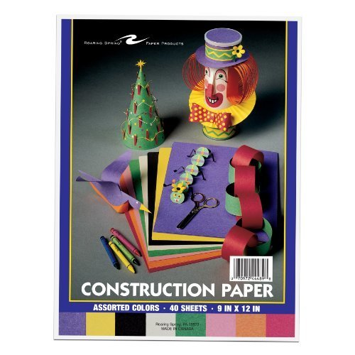 Roaring Spring 9 x 12 Inches Construction Paper 8 Assorted Colors per Pack 40 Sheets per Pack 44489