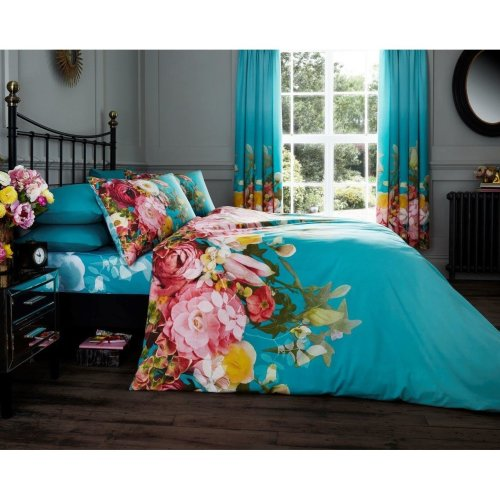 Faded Floral turquoise cotton blend duvet cover