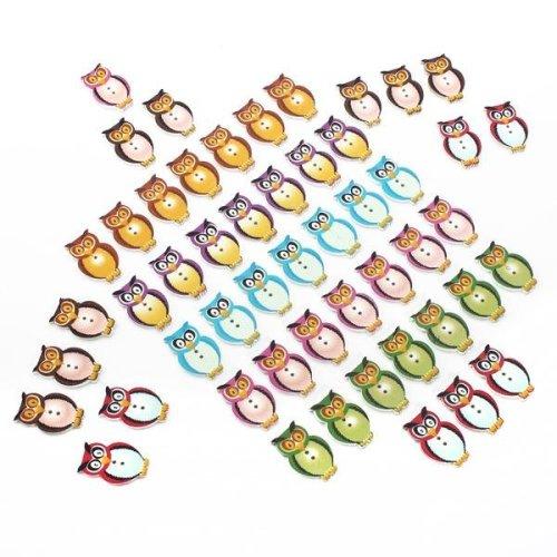 50Pcs Multicolor Wooden Owl Buttons
