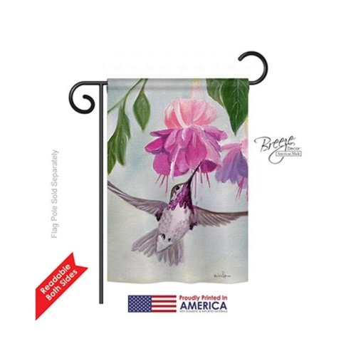 Breeze Decor 55047 Birds Flight of Hummingbird 2-Sided Impression Garden Flag - 13 x 18.5 in.