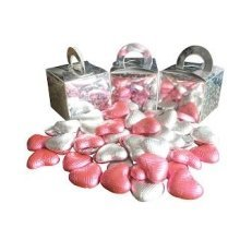 Pack of 6 Pink and White Chocolate Heart Filled Holographic Star Silver Cube Balloon Weight Favour Boxes