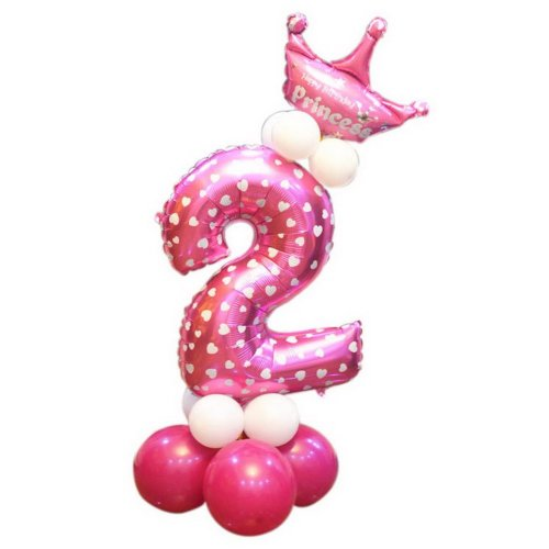Childrens Day Birthday Party Decoration Cute Crown Column Balloon Number 2 Pink On OnBuy